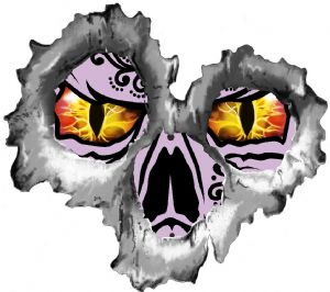 Bullet Hole Torn Metal 3 Shots With Evil Eye Skull Car Sticker 95x85mm